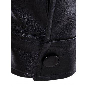 Flap Pockets Zipper Up Faux Veste en cuir - Noir 4XL