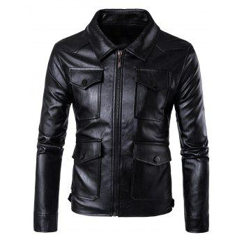 Flap Pockets Zipper Up Faux Leather Jacket