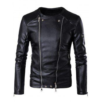Convertible Zipper Up Collarless Biker Jacket