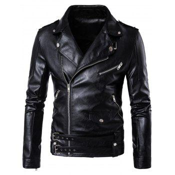 Belted Asymmetrical Zip Biker Jacket