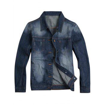 Faded Turn-Down Collar Denim Jacket