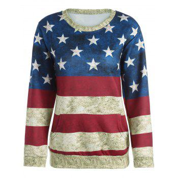 3D American Flag Print Distressed Sweatshirt