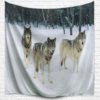 Snowfield Wolf Wall Hanging Fabric Throw Tapestry