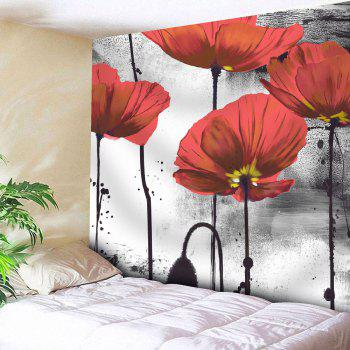 Ink Painting Microfiber Wall Hanging Floral Tapestry