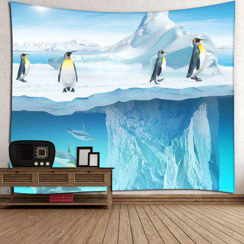 Microfiber Wall Hanging Penguin Printed Tapestry - BLUE BLUE