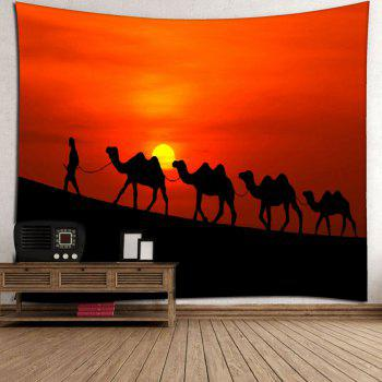 Sunset Camel Tapestry Microfiber Wall Hanging - RED W59 INCH * L79 INCH