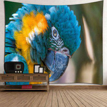 Microfiber Wall Hanging Parrot Printed Tapestry - BLUE W51 INCH * L59 INCH