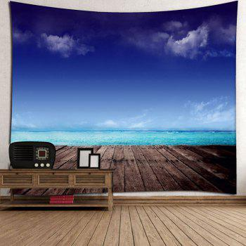 Microfiber Wall Hanging Seaside Scenery Home Tapestry - BLUE BLUE
