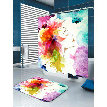 Waterproof Watercolor Floral Girl Shower Curtain - COLORFUL W71 INCH * L79 INCH