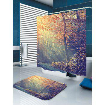 Maple Leaf Forest Sunlight Fabric Shower Curtain - COLORFUL W71 INCH * L79 INCH