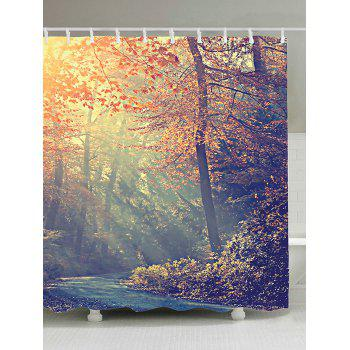Maple Leaf Forest Sunlight Fabric Shower Curtain