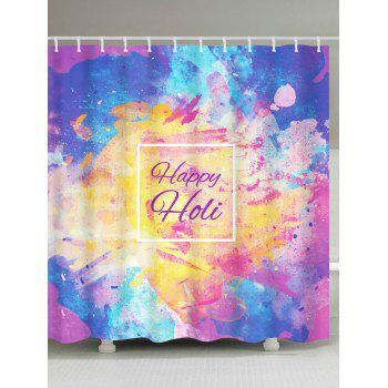 Ink Painting Happy Holi Print Shower Curtain