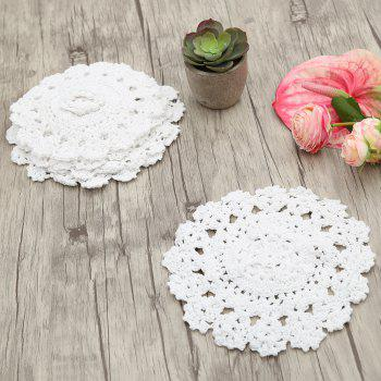 Handmade Round Flower Crochet Table Placemats -  WHITE