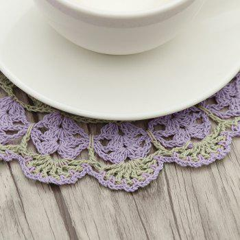 5 PCS Flower Corchet Hollow Out Round Shaped Doilies -  PURPLE