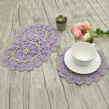 5 PCS Flower Corchet Hollow Out Round Shaped Doilies - PURPLE PURPLE