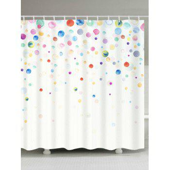 Waterproof Ink Painting Dotted Shower Curtain