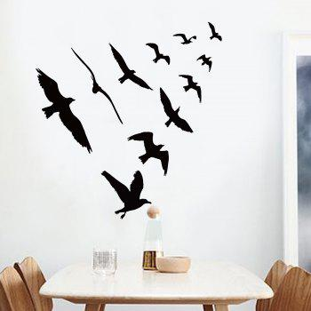 Decorative Vinyl Birds Group Wall Sticker - BLACK 57*67CM