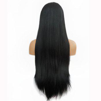 Free Part Straight Long Lace Front Synthetic Wig - BLACK