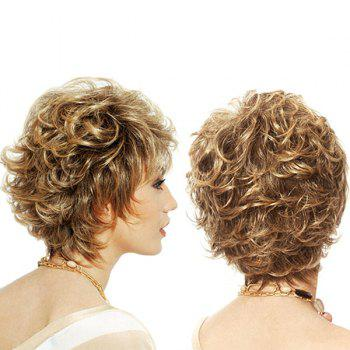 Short Side Bang Shaggy Layered Curly Colormix Synthetic Wig