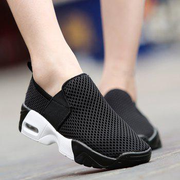 Elastic Band Breathable Mesh Athletic Shoes - BLACK BLACK