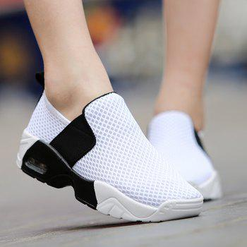 Elastic Band Breathable Mesh Athletic Shoes - WHITE WHITE