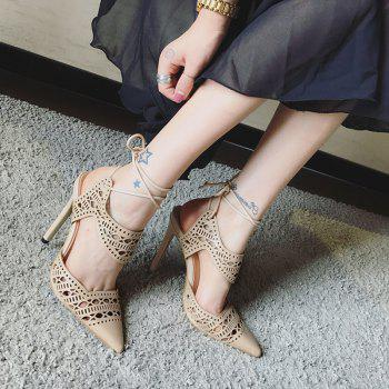 Tie Up Hollow Out Stiletto Heel Sandals