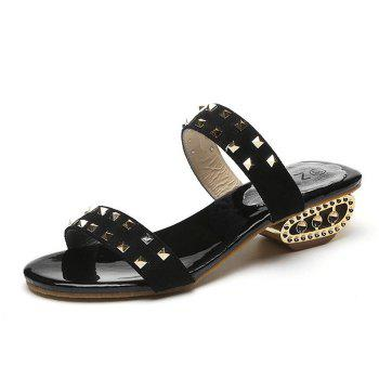 Chaussons style strass rude - Noir 38