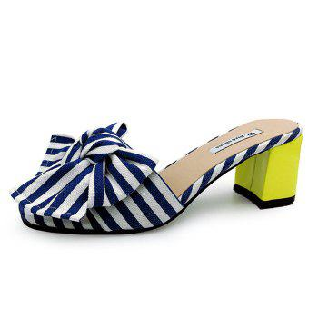 Striped Bow Mid Heel Slippers - BLUE BLUE