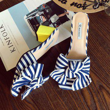 Striped Bow Mid Heel Slippers - 38 38