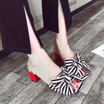Striped Bow Mid Heel Slippers