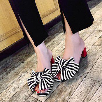 Striped Bow Mid Heel Slippers - BLACK BLACK