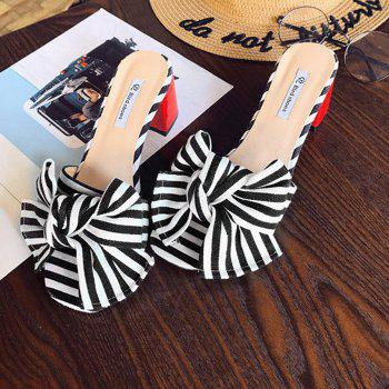 Striped Bow Mid Heel Slippers - BLACK 38