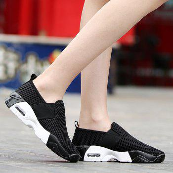 Elastic Band Breathable Mesh Athletic Shoes - BLACK 37