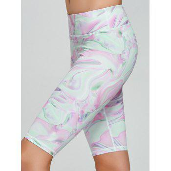 Fresh Pattern Running Tight Shorts - PINK L