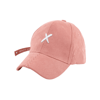 Long Tail Cross Embroidered Baseball Hat - PAPAYA