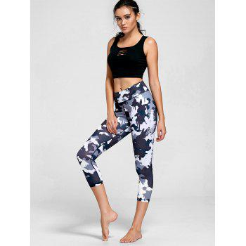 High Rise Camouflage Print Sports Leggings - BLACK L