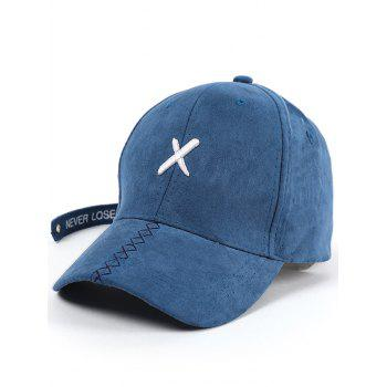 Long Tail Cross Embroidered Baseball Hat - BLUE BLUE
