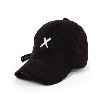 Long Tail Cross Embroidered Baseball Hat - BLACK BLACK