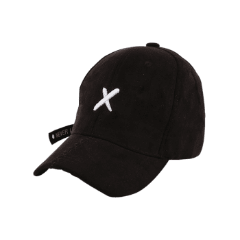 Long Tail Cross Embroidered Baseball Hat -  BLACK