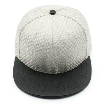 Flat Brim Splicing Tiny Plaid Baseball Cap - Blanc