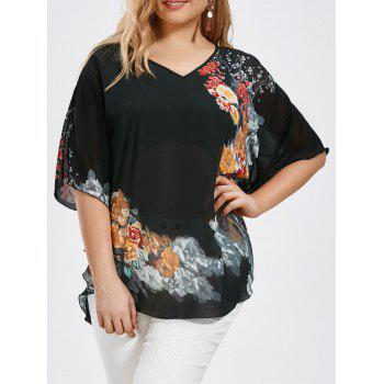 Plus Size Floral Butterfly Sleeve Blouse