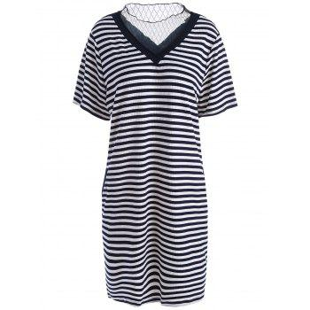 Plus Size Knit Stripe T-shirt Dress with Voile Panel