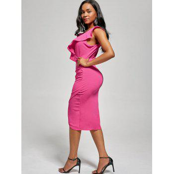 Robe Bodyung Ruffle Neck Plunging - rose M
