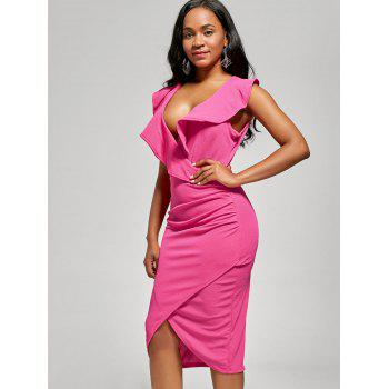 Robe Bodyung Ruffle Neck Plunging - rose L