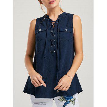 Lace-up Pockets Sleeveless Top