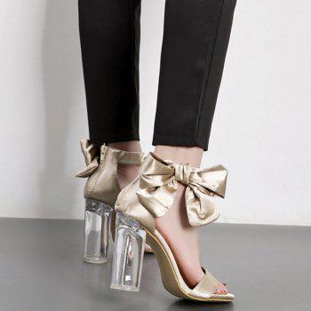 Bow See Through High Heel Sandals - CHAMPAGNE CHAMPAGNE