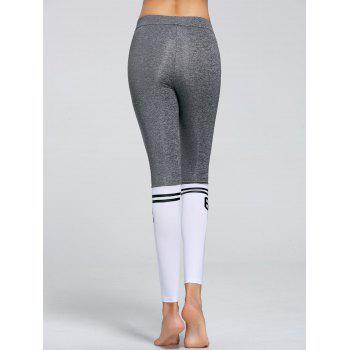 Numbers Contrast Yoga Tights - GRAY L