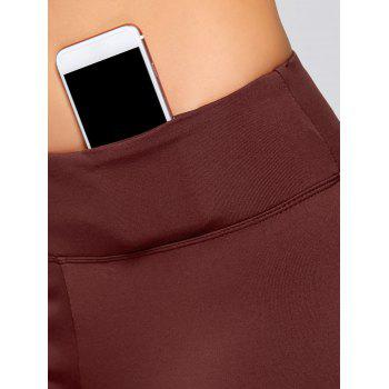 Stretch Bootcut Yoga Pants with Pocket - CLARET XL