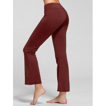 Stretch Bootcut Yoga Pants with Pocket - CLARET M