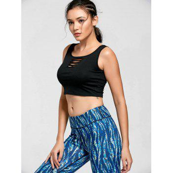 Active Keyhole Ripped Crop T-shirt - BLACK BLACK